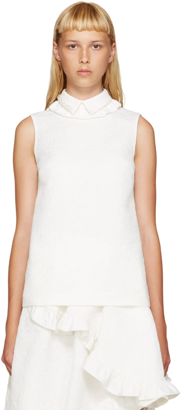 Simone Rocha Ivory Beaded Collar Blouse