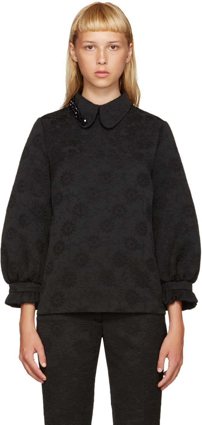 Simone Rocha Black Beaded Collar Blouse