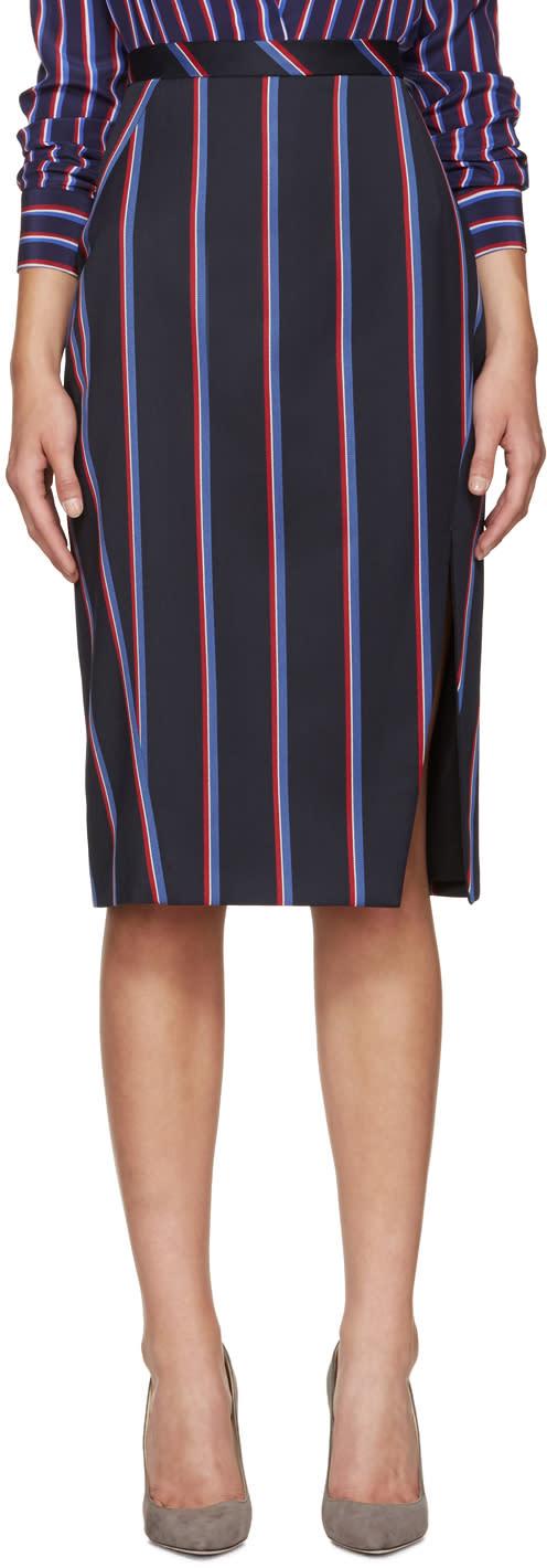 Altuzarra Navy Striped Monroe Skirt