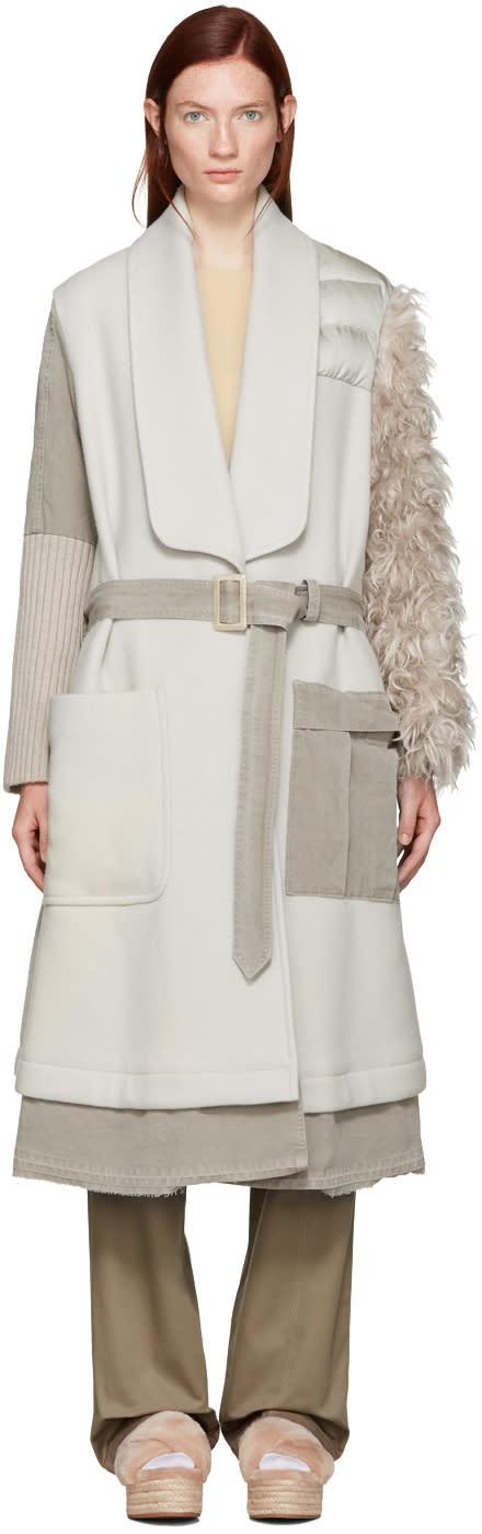 Undercover Beige Fur Sleeve Coat