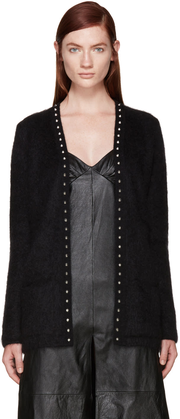 Saint Laurent Black Mohair Studded Cardigan