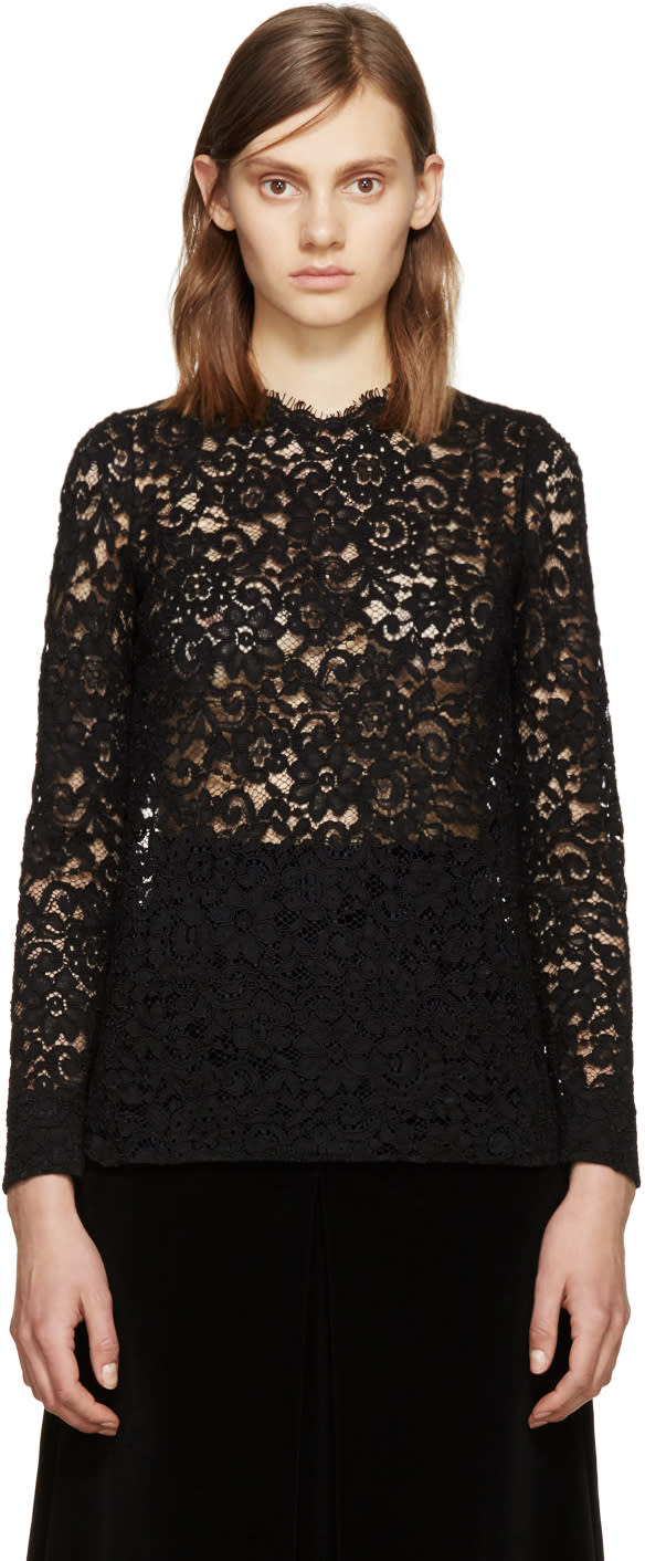 Saint Laurent Black Lace Blouse