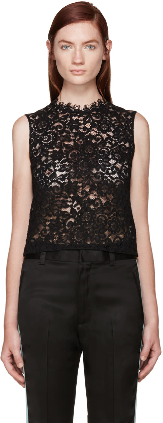 Saint Laurent Black Floral Lace Blouse