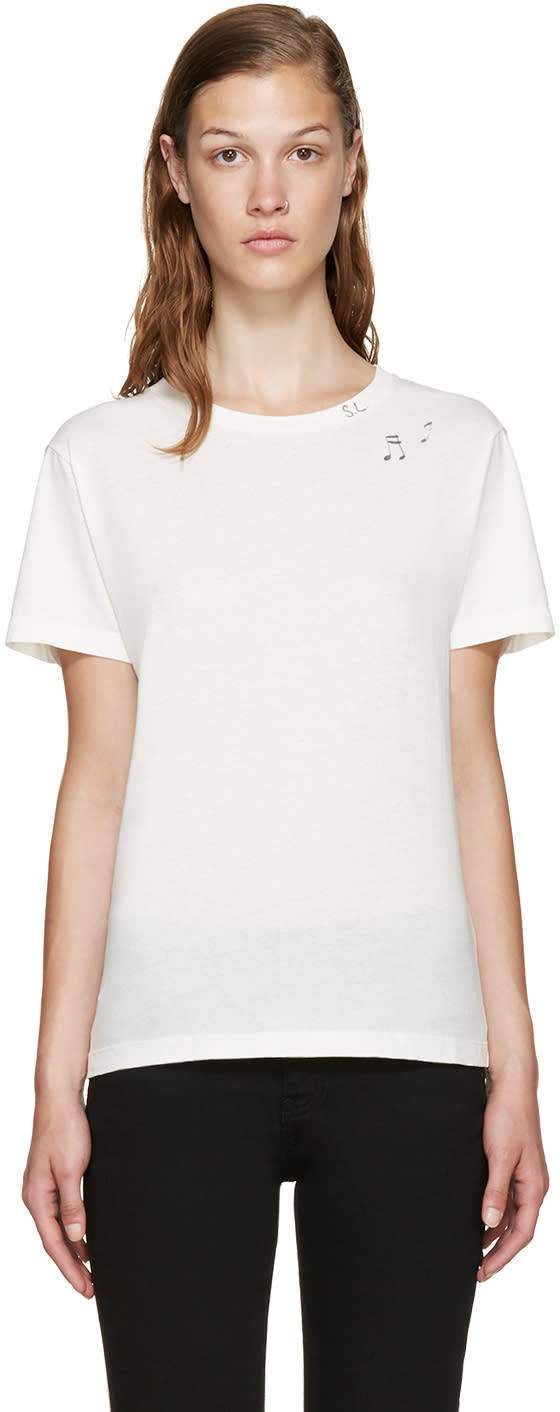 Saint Laurent Ivory Music Note Stamp T-shirt