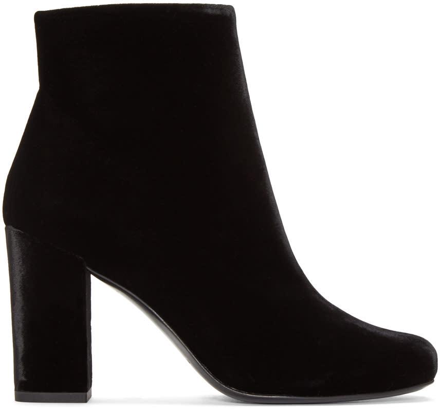 Saint Laurent Black Velvet Babies Ankle Boots