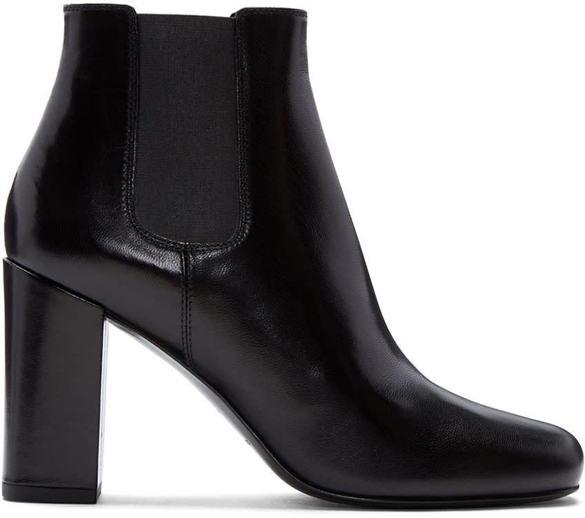 Saint Laurent Black Leather Babies Boots
