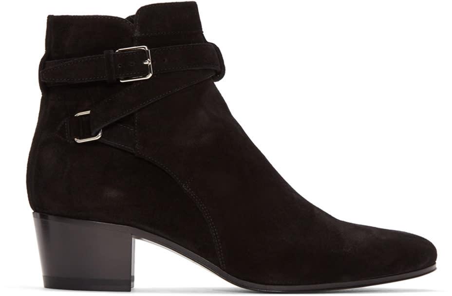 Saint Laurent Black Suede Blake Boots