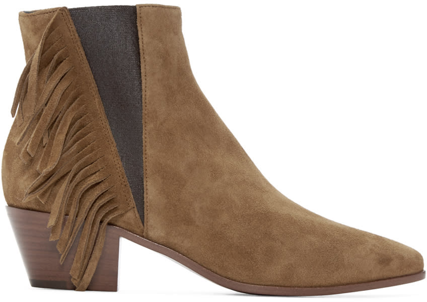 Saint Laurent Tan Suede Fringed Blake Boots