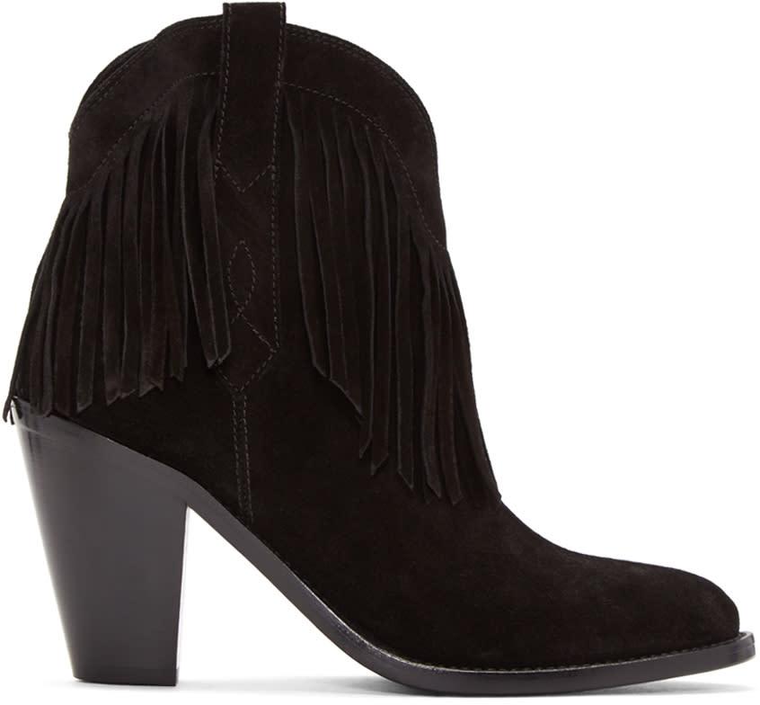 Saint Laurent Black Fringed Curtis Boots