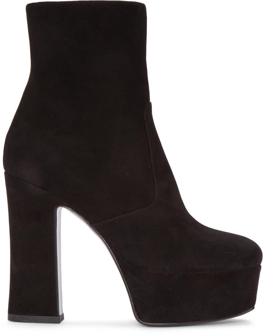 Saint Laurent Black Suede Platform Candy Boots