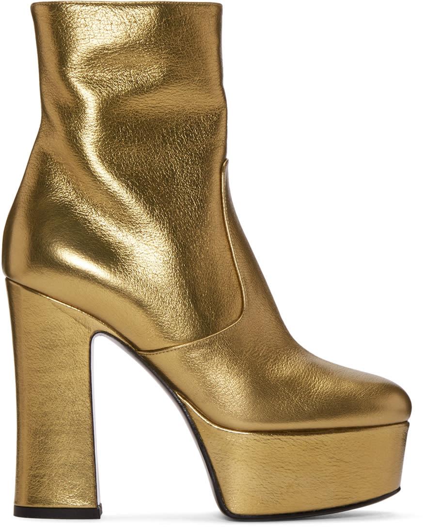 Saint Laurent Gold Platform Candy Boots