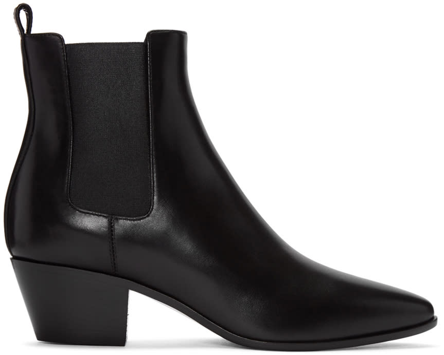Saint Laurent Black Leather Rock Boots