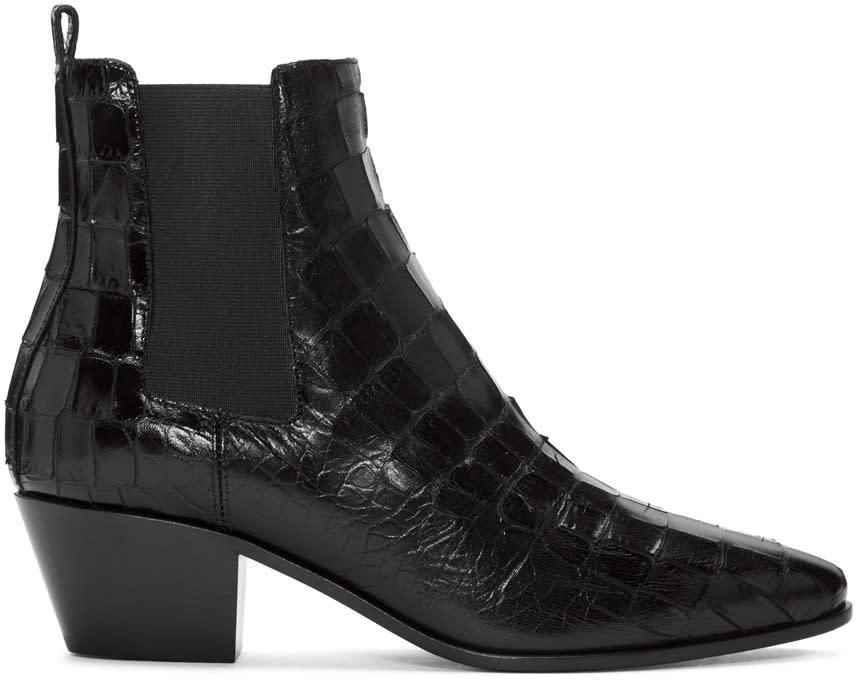 Saint Laurent Black Croc-embossed Rock Boots