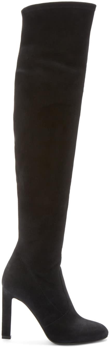 Saint Laurent Black Suede Grace Over-the-knee Boots
