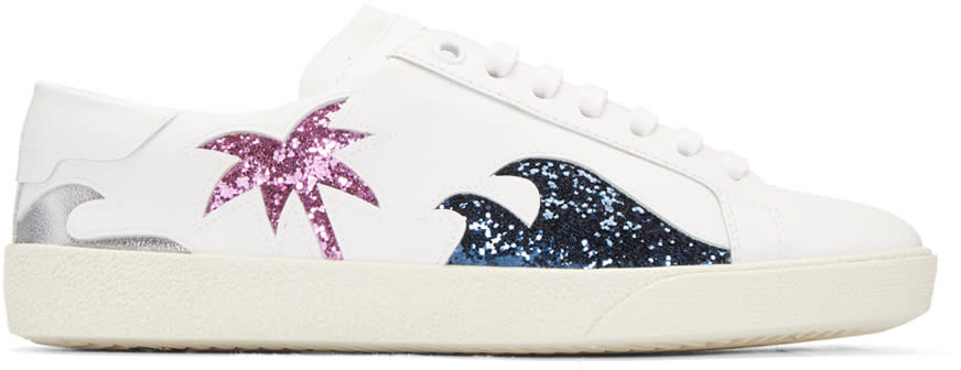 Saint Laurent White Cut-out Court Classic Sneakers