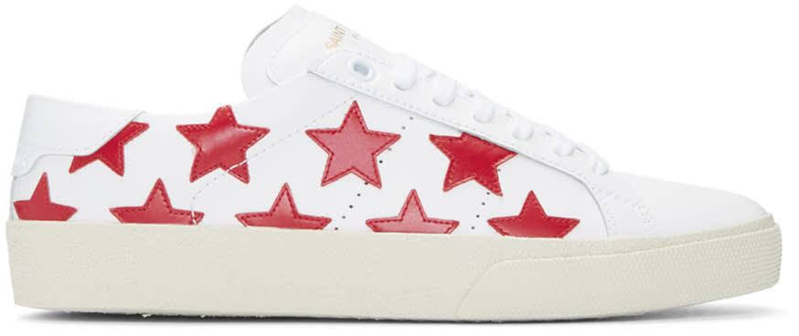 Saint Laurent White and Red Stars Court Classic Sneakers