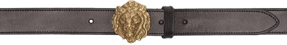 Saint Laurent Black Lion Head Belt