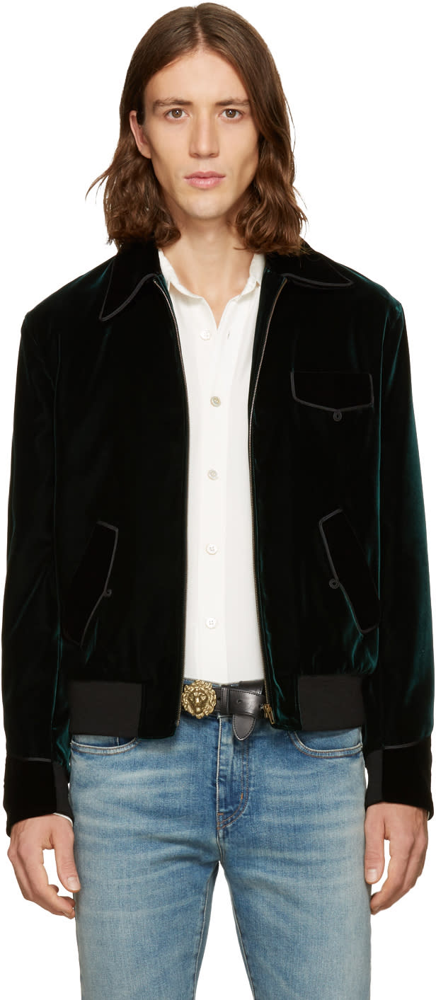Saint Laurent Green Velvet Teddy Bomber Jacket