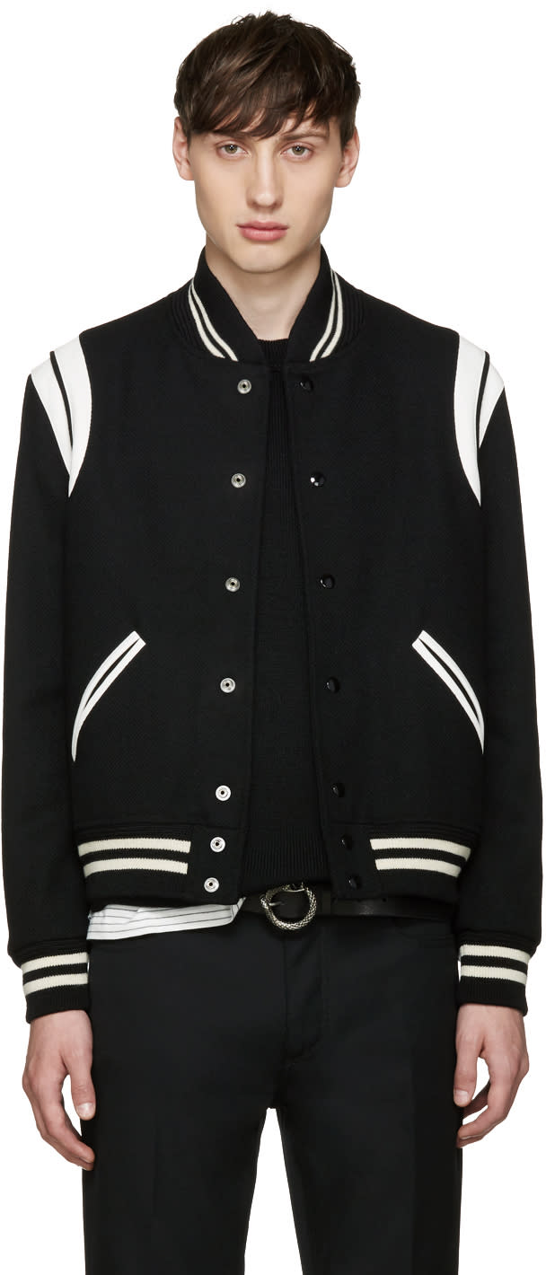 Saint Laurent Black Wool Teddy Bomber Jacket