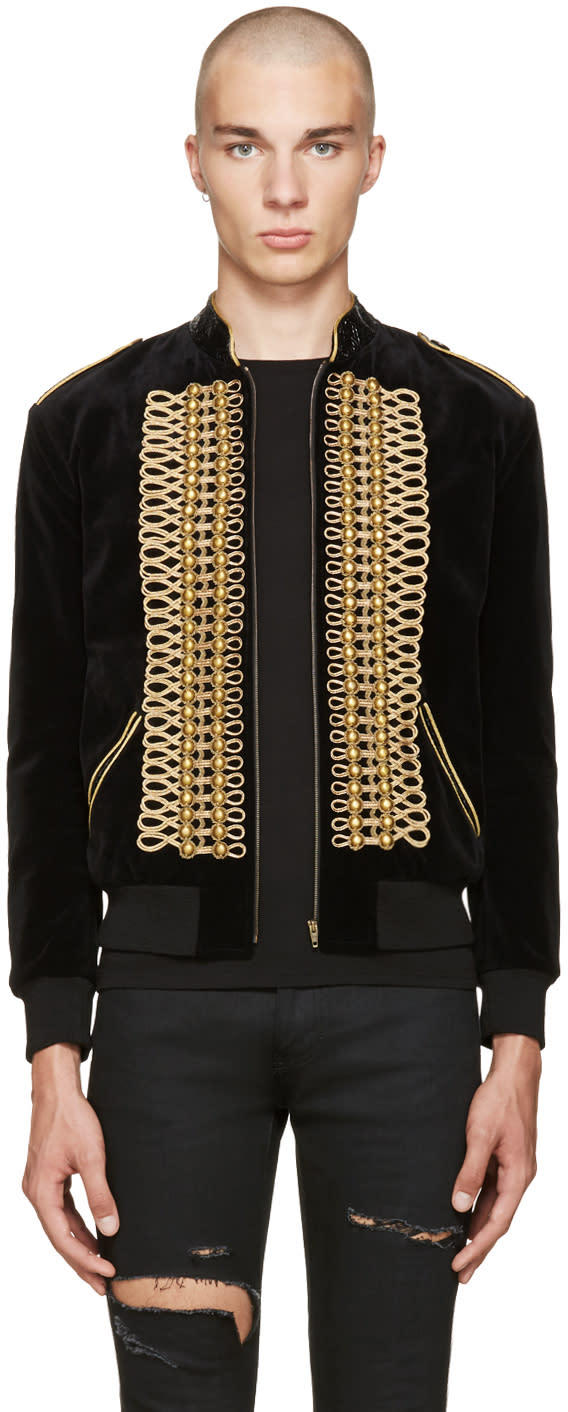 Saint Laurent Black Velvet Military Teddy Bomber Jacket