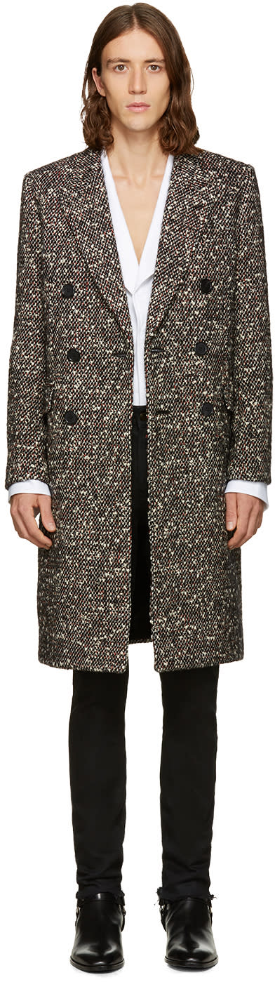Saint Laurent Tricolor Double-breasted Wool Coat