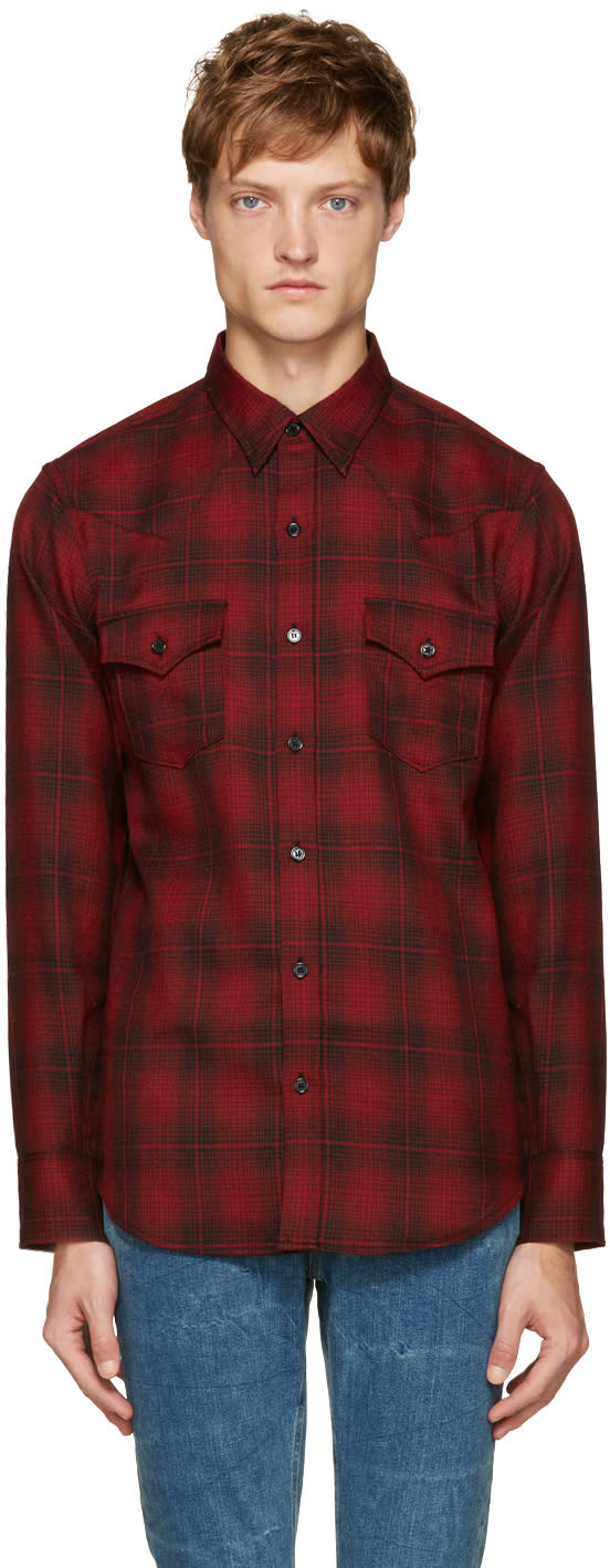 Saint Laurent Red Plaid Western Shirt