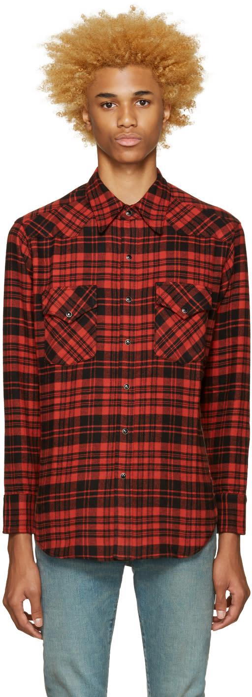 Saint Laurent Black and Red Plaid Shirt