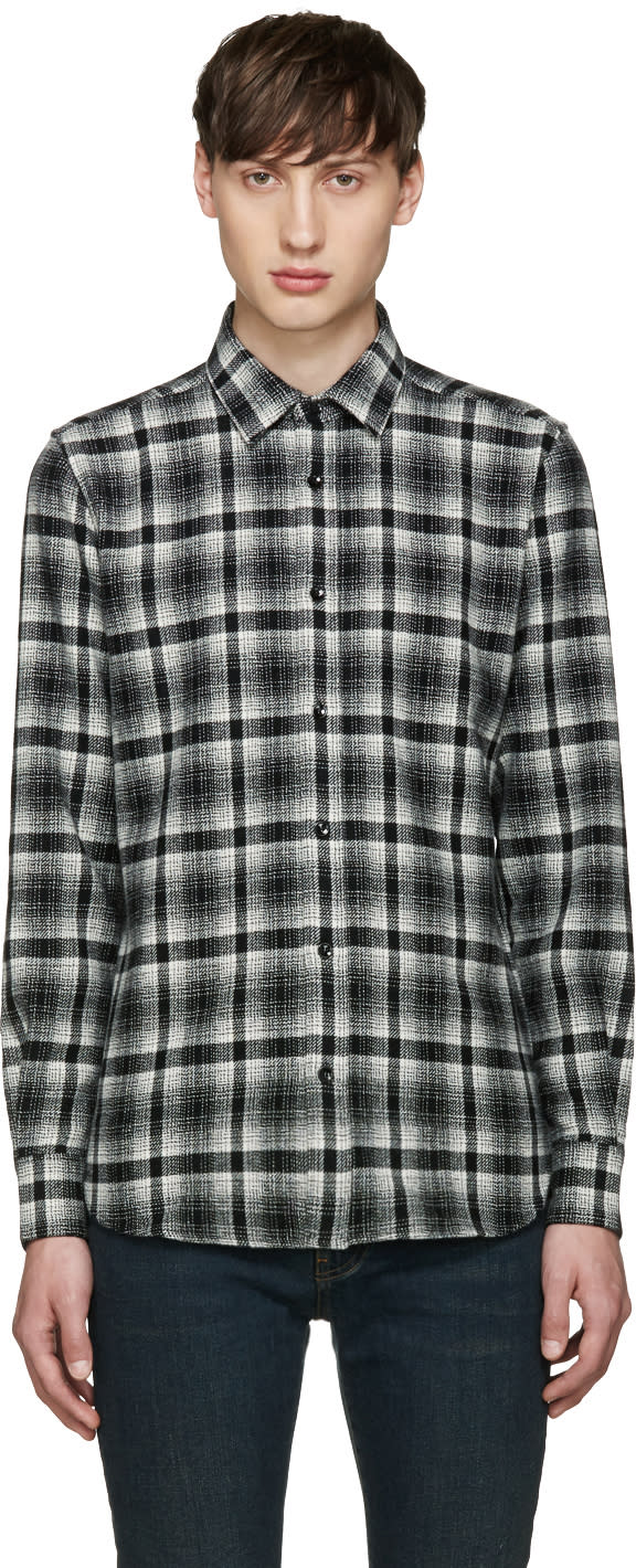 Saint Laurent White and Black Flannel Shirt