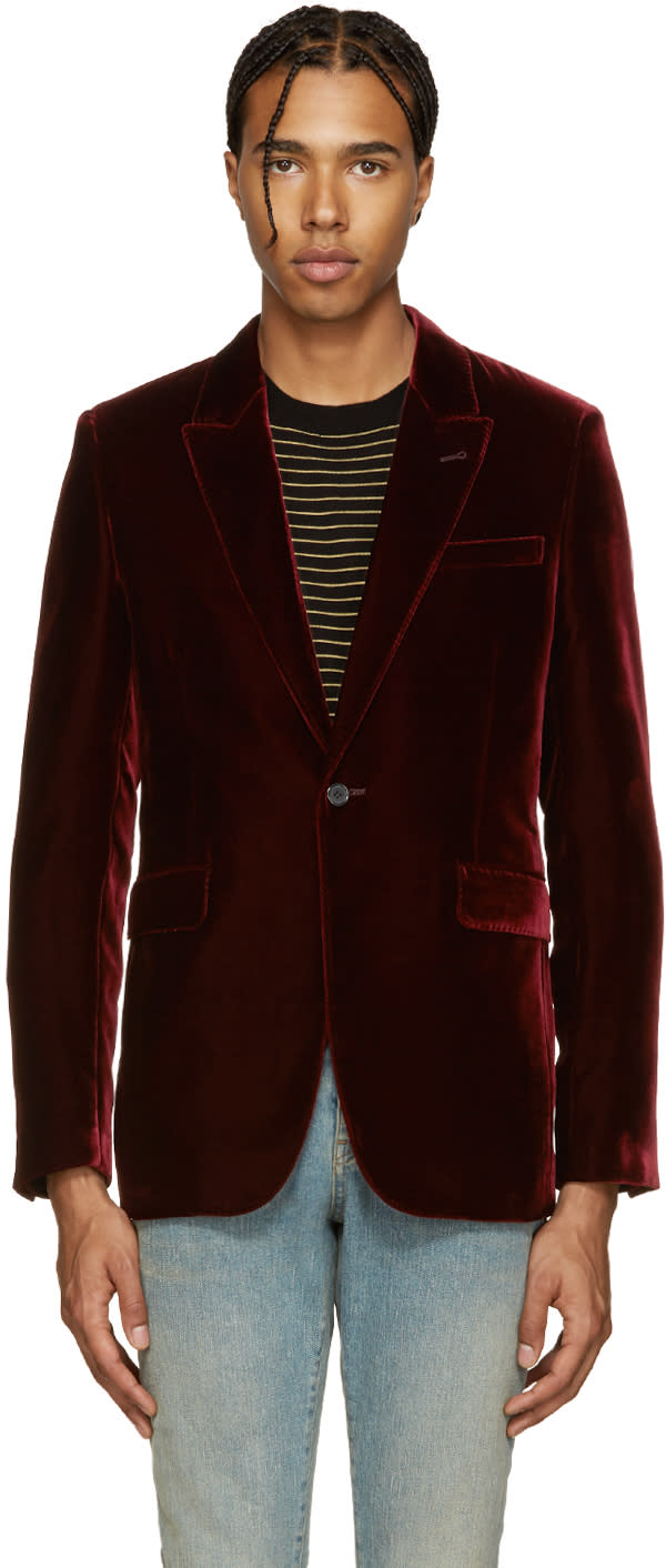 Saint Laurent Red Velvet Blazer