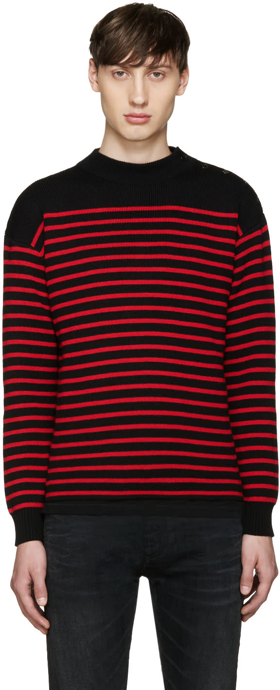 Saint Laurent Black and Red Striped Sweater