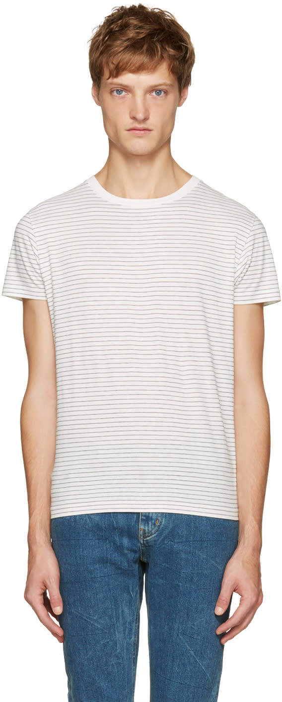 Saint Laurent White and Black Striped T-shirt