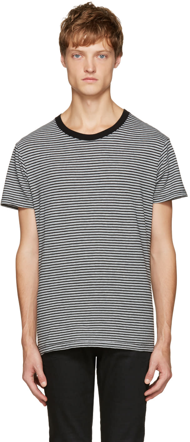 Saint Laurent Grey and Black Striped T-shirt