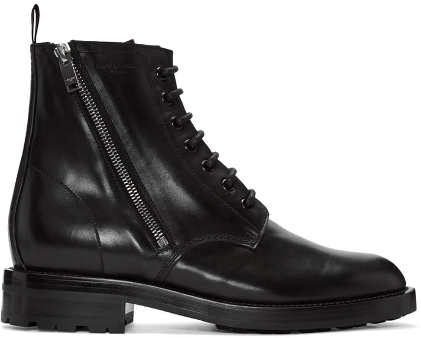 Black Short Zip Army Boots