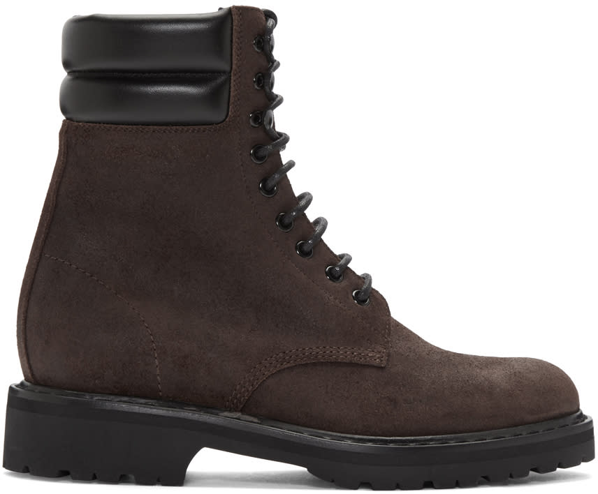 Brown Suede High Army Boots