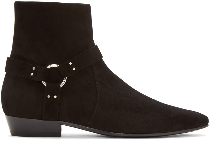 Saint Laurent Black Suede Harness Devon Boots