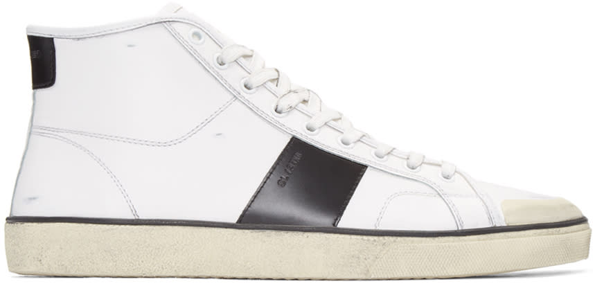 Saint Laurent White Distressed Sl-37 Court Classic Sneakers