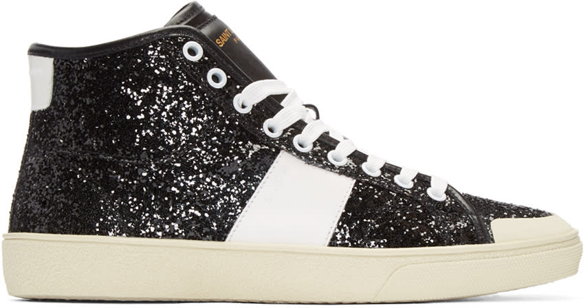 Saint Laurent Black Glittered Sl-37 Court Classic Sneakers