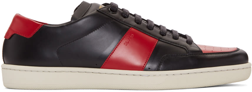 Saint Laurent Black and Red Court Classic Sneakers