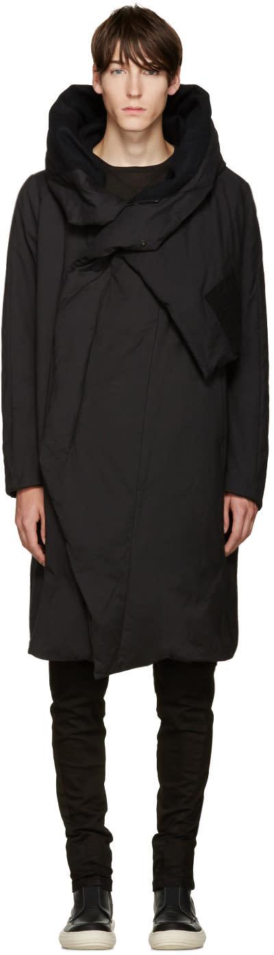 Julius Black Down Wrap Collar Coat