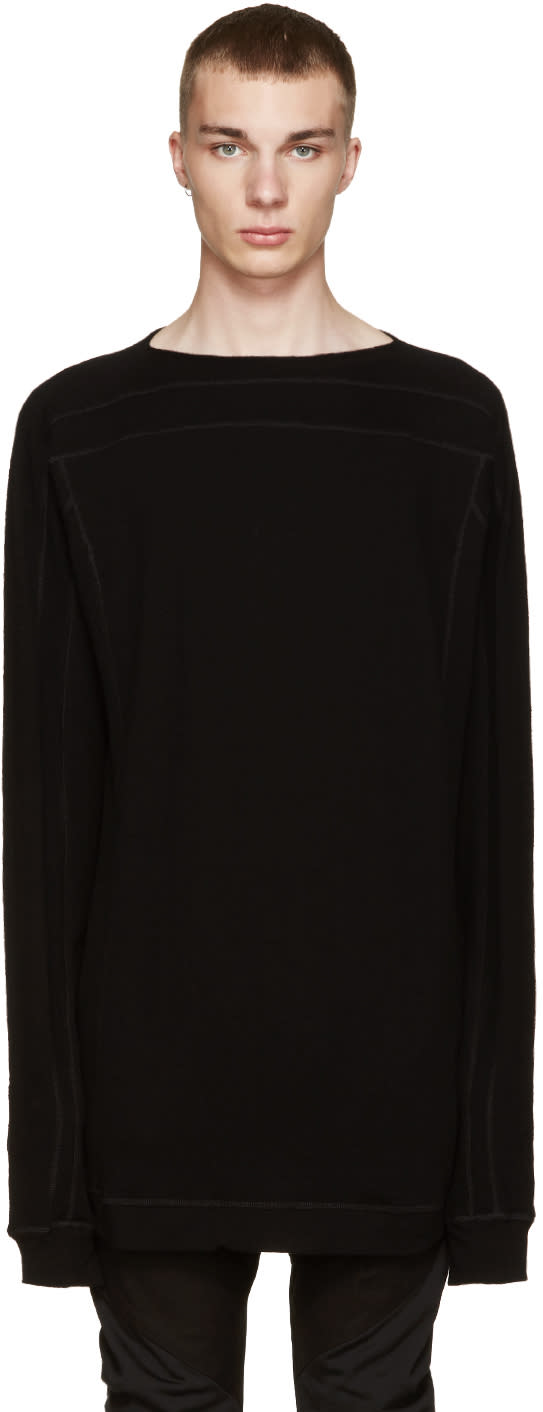 Julius Black Cotton and Wool Pullover