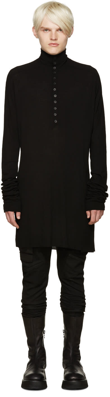 Julius Black Overlong Henley T-shirt