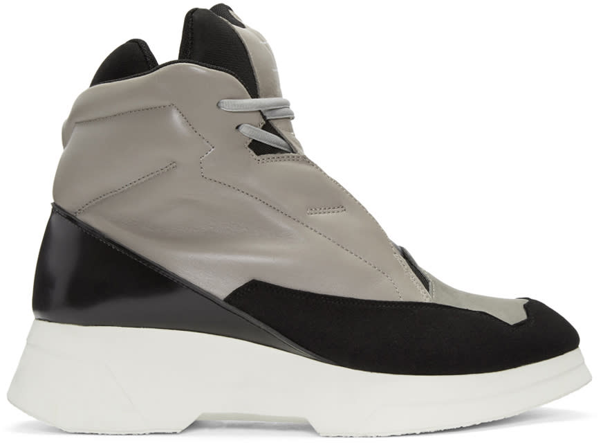 Julius Taupe and Black Leather High-top Sneakers