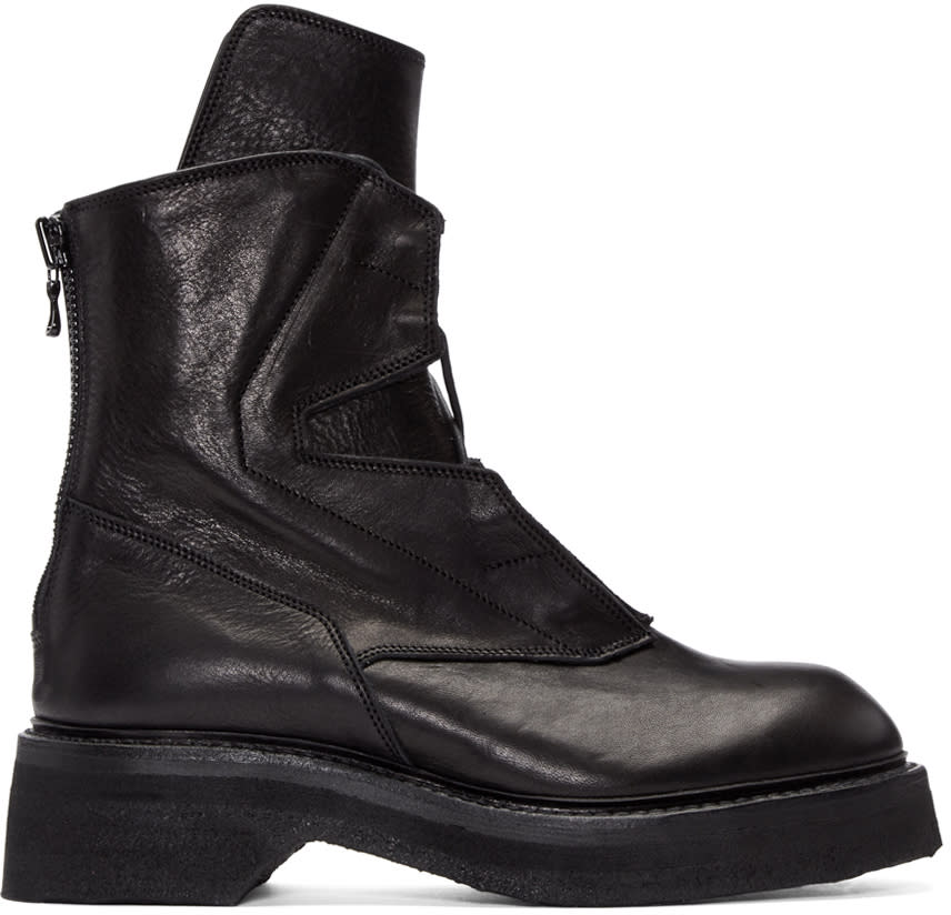 Julius Black Leather Lace-up Boots