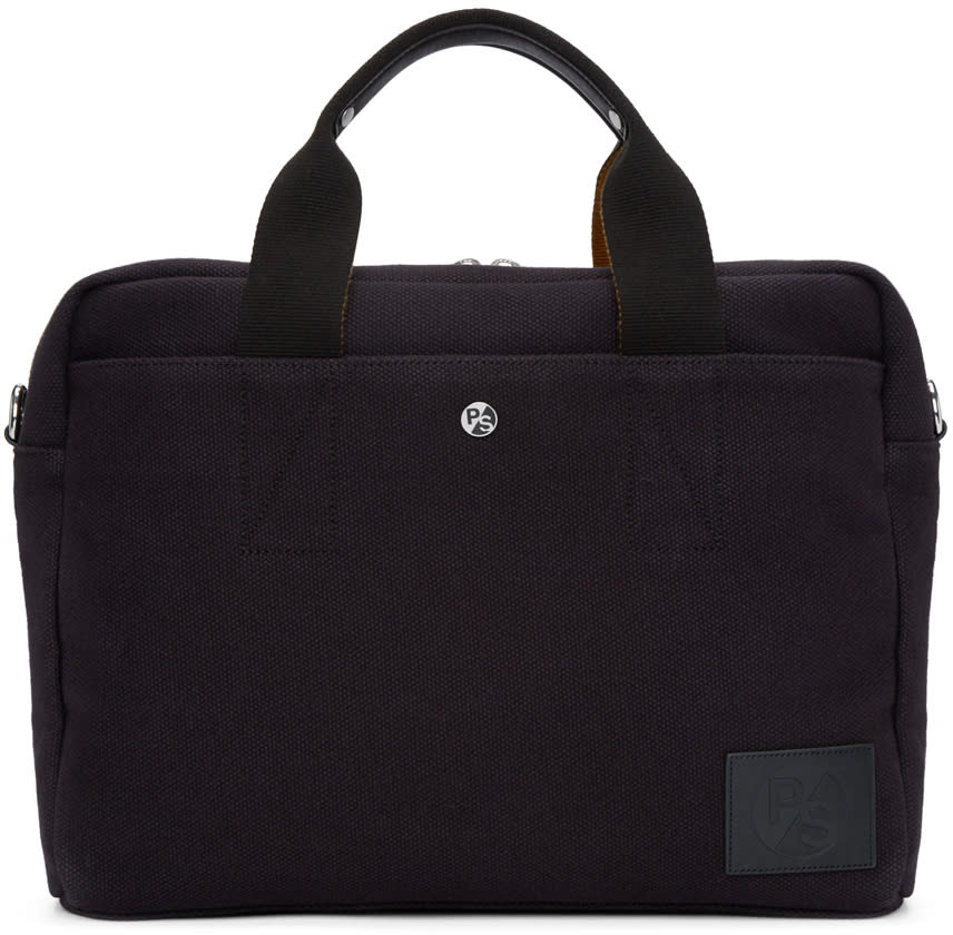 Ps By Paul Smith Black Canvas Folio Briefcase
