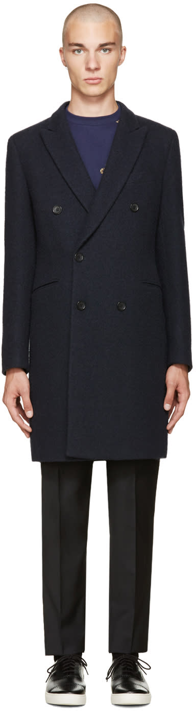Ps By Paul Smith Navy Double-breasted Coat