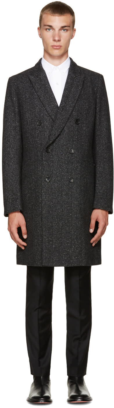 Ps By Paul Smith Black Wool Herringbone Coat