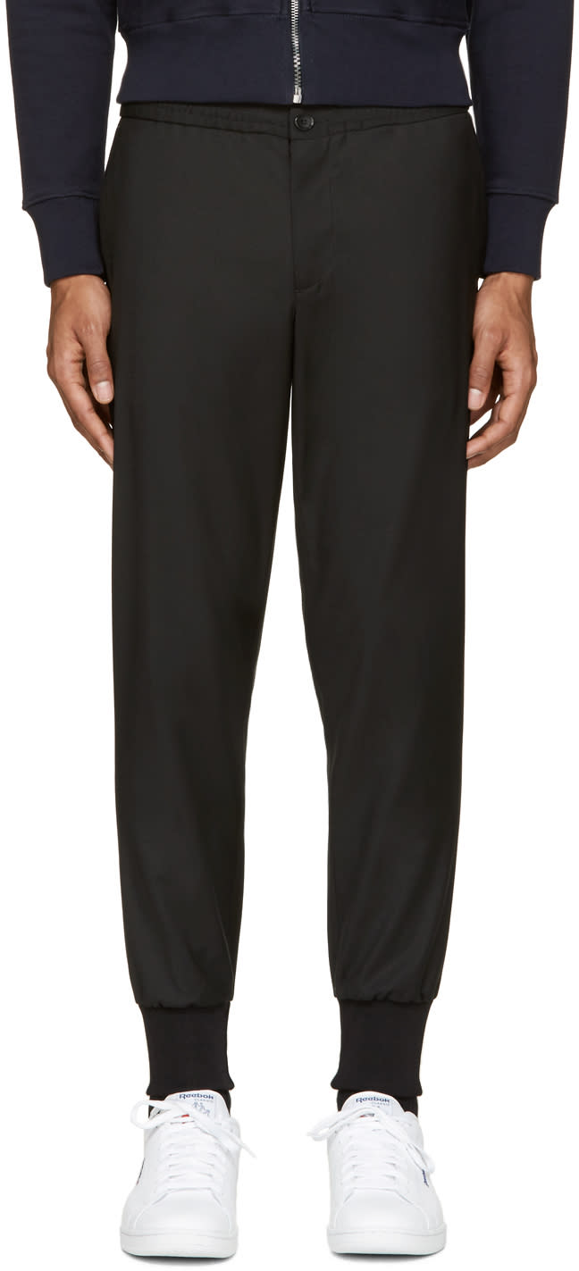 Ps By Paul Smith Black Wool Track Trousers