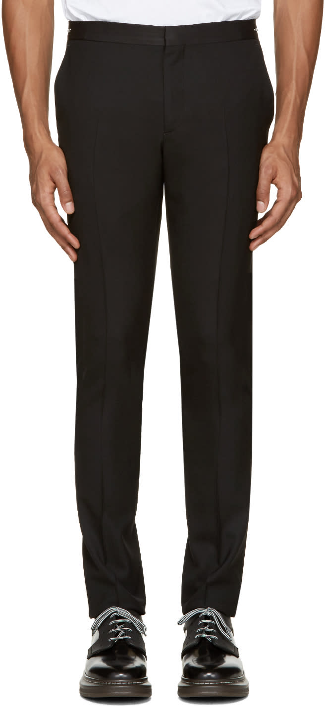 Ps By Paul Smith Black Wool Zip Accent Trousers