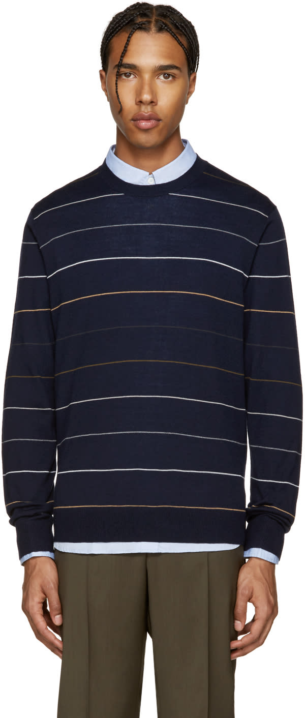 Ps By Paul Smith Navy Wool Striped Pullover