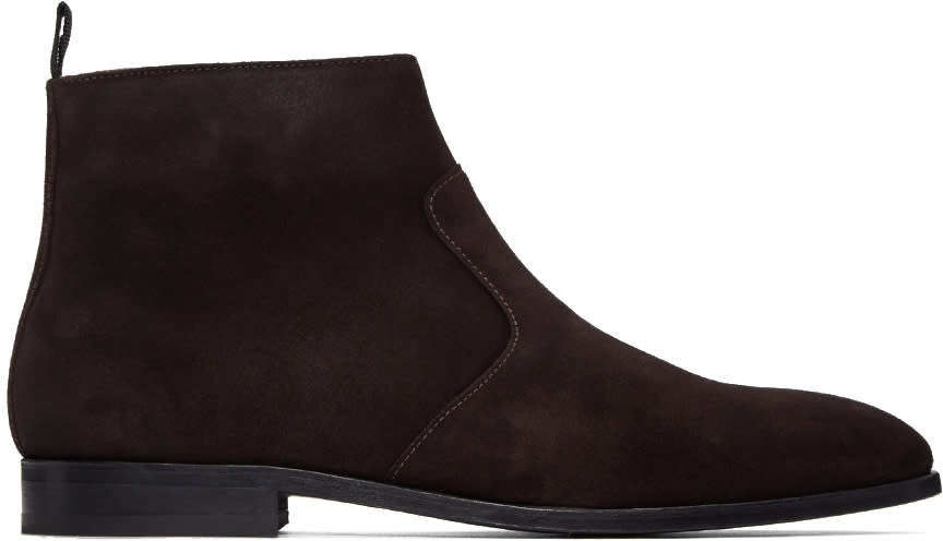 Ps By Paul Smith Brown Suede Mulder Boots